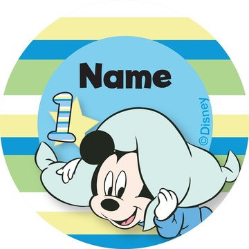 Mickey 1st Birthday Personalized Mini Stickers (Sheet of 24)