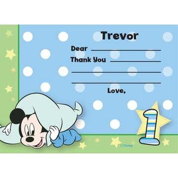 Mickey 1st Birthday Personalized Thank You Note (Each)
