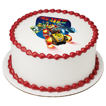 """Mickey And The Roadster Racers 7.5"""" Round Edible Cake Topper (Each)"""