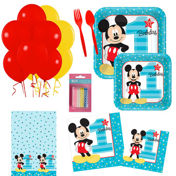 Mickey Mouse 1st Birthday Party Essentials Kit , Serves 16