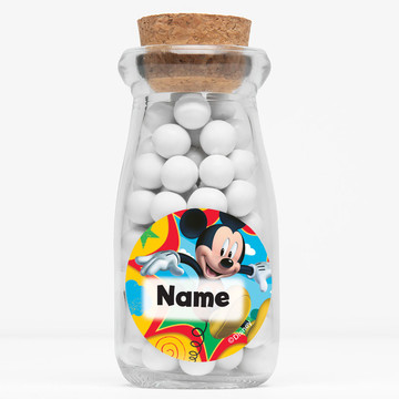 "Mickey Mouse Personalized 4"" Glass Milk Jars (Set of 12)"