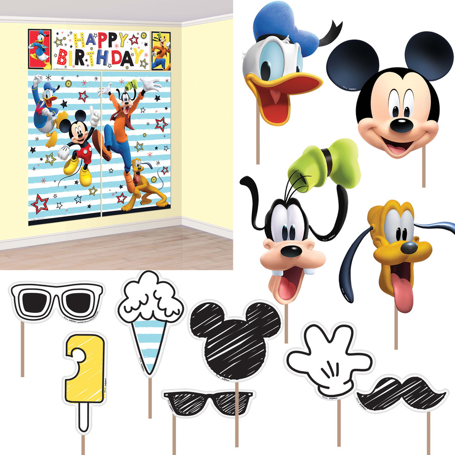 View larger image of Mickey On The Go Scene Setter Wall Decoration with Photo Booth Props