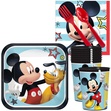 Mickey On The Go Standard Tableware Kit With Plastic Favor Cups (Serves 8)