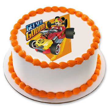 """Mickey Roadster 7.5"""" Round Edible Cake Topper (Each)"""