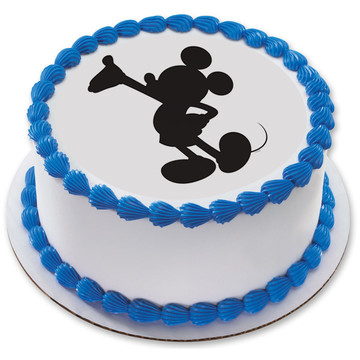 "Mickey Silhouette 7.5"" Round Edible Cake Topper (Each)"