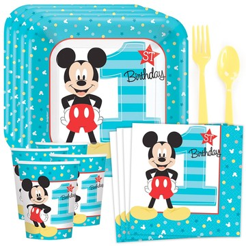 Mickey's 1st Birthday Standard Tableware Kit (Serves 8)