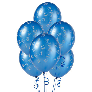 Mid Blue with Trains Matte Balloons