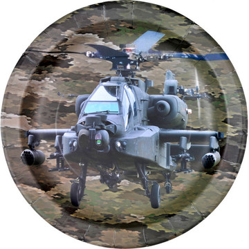 """Military Camo Apache Helicopter Party Plate 9"""" (8)"""