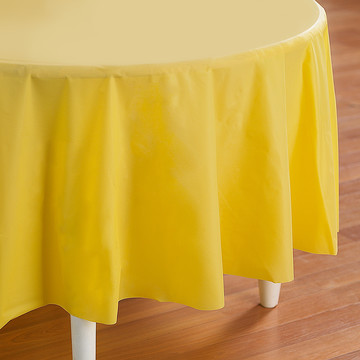 Mimosa (Light Yellow) Round Plastic Tablecover
