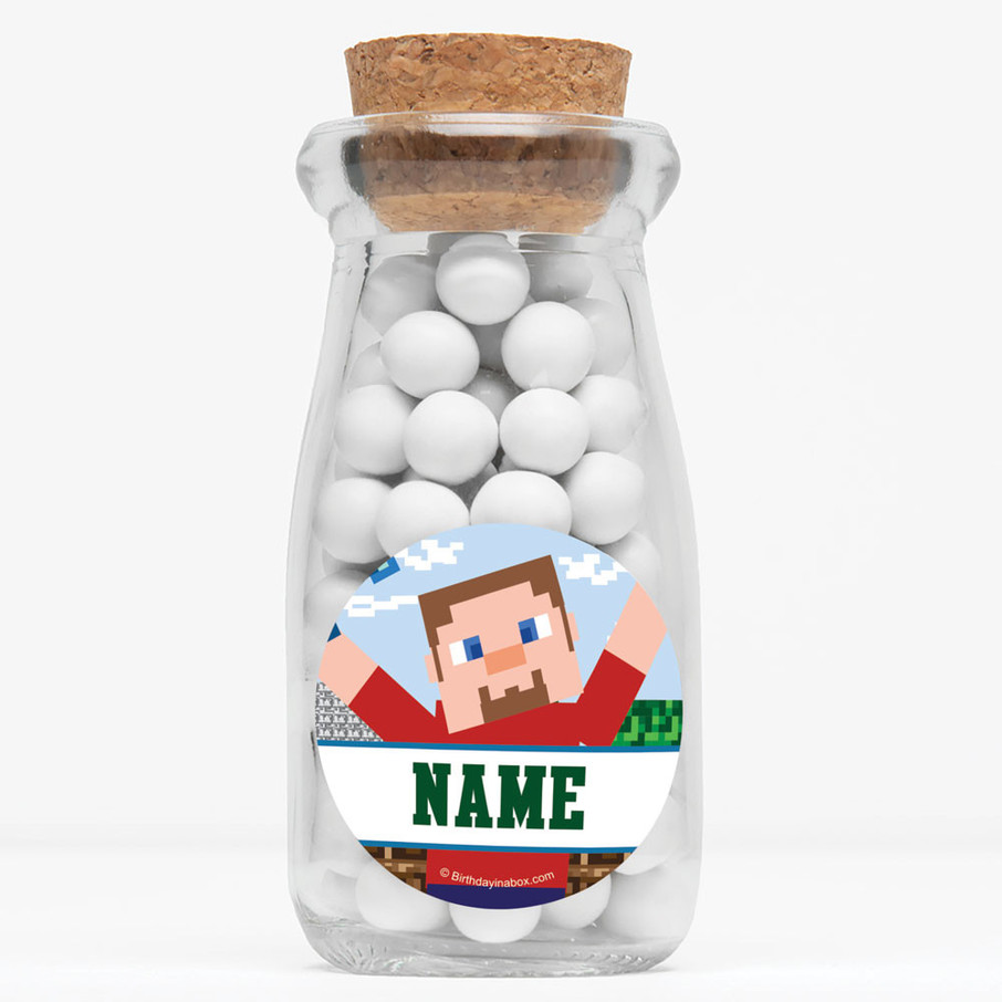 """View larger image of Mine Blocks Personalized 4"""" Glass Milk Jars (Set of 12)"""