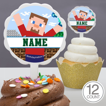 Mine Blocks Personalized Cupcake Picks (12 Count)