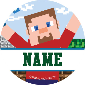 Mine Blocks Personalized Mini Stickers (Sheet of 24)