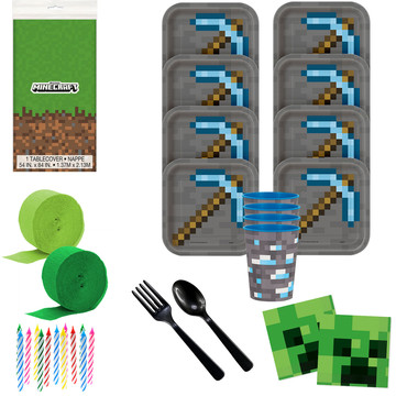 Minecraft Deluxe Tableware Kit with Favor Cups (Serves 8)