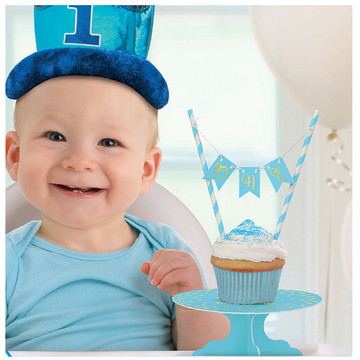 Mini Blue 1st Birthday Cake Stand Set