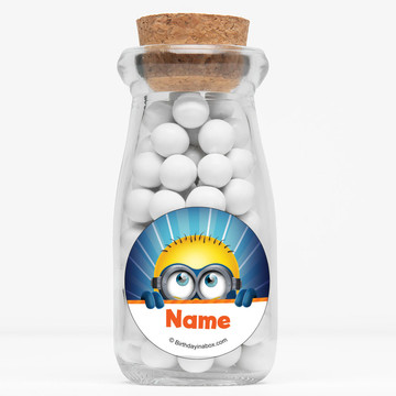 "Minion Personalized 4"" Glass Milk Jars (Set of 12)"