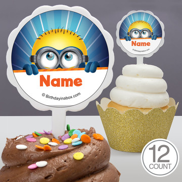 Minion Personalized Cupcake Picks (12 Count)