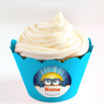 Minion Personalized Cupcake Wrappers (Set of 24)
