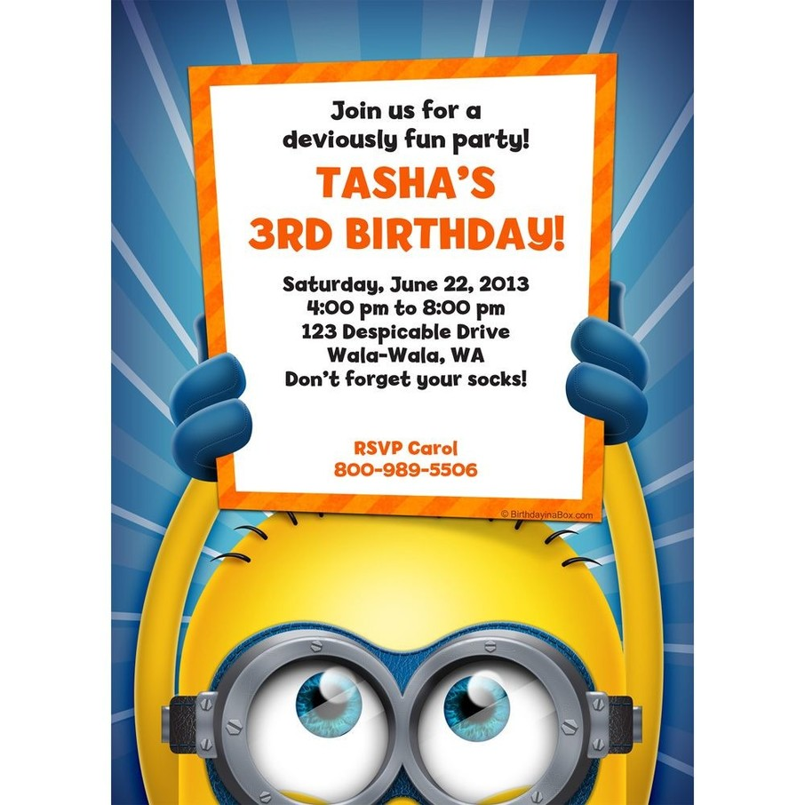 View larger image of Minion Personalized Invitation (Each)