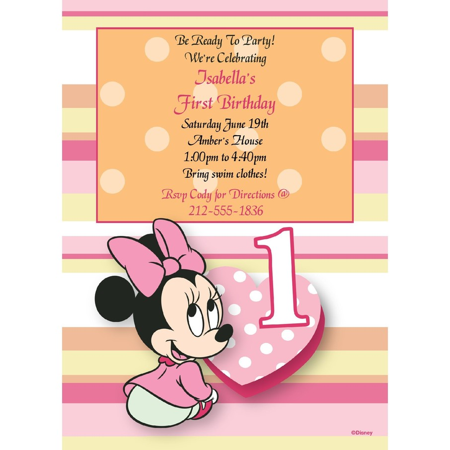 View larger image of Minnie 1st Bday Personalized Invitation (Each)