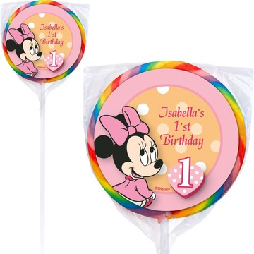 Minnie 1st Bday Personalized Lollipops (12 Pack)