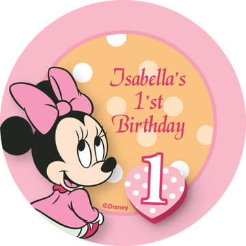 Minnie 1st Bday Personalized Stickers (Sheet of 12)