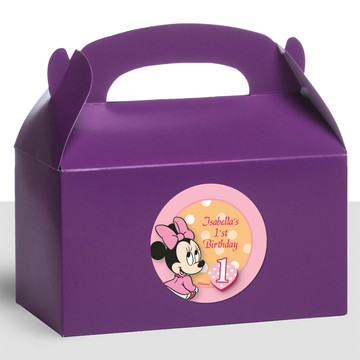 Minnie 1St Bday Personalized Treat Favor Boxes (12 Count)