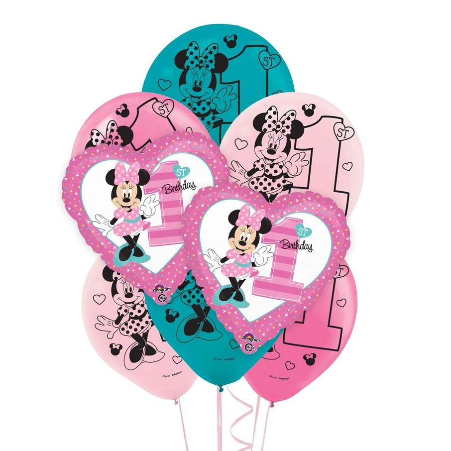 View larger image of Minnie 1st Birthday 8 pc Balloon Kit