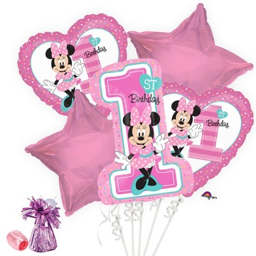 Minnie 1st Birthday Balloon Bouquet Kit