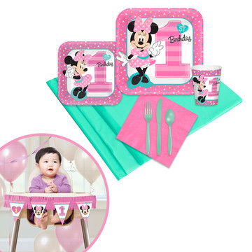Minnie Mouse 1st Birthday Tableware High Chair Kit