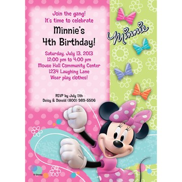 Minnie Mouse Personalized Invitation (Each)