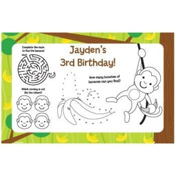 Monkey Party Personalized Activity Mats (8-pack)