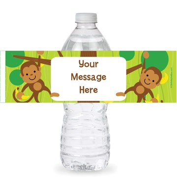 Monkey Party Personalized Bottle Labels (Sheet of 4)