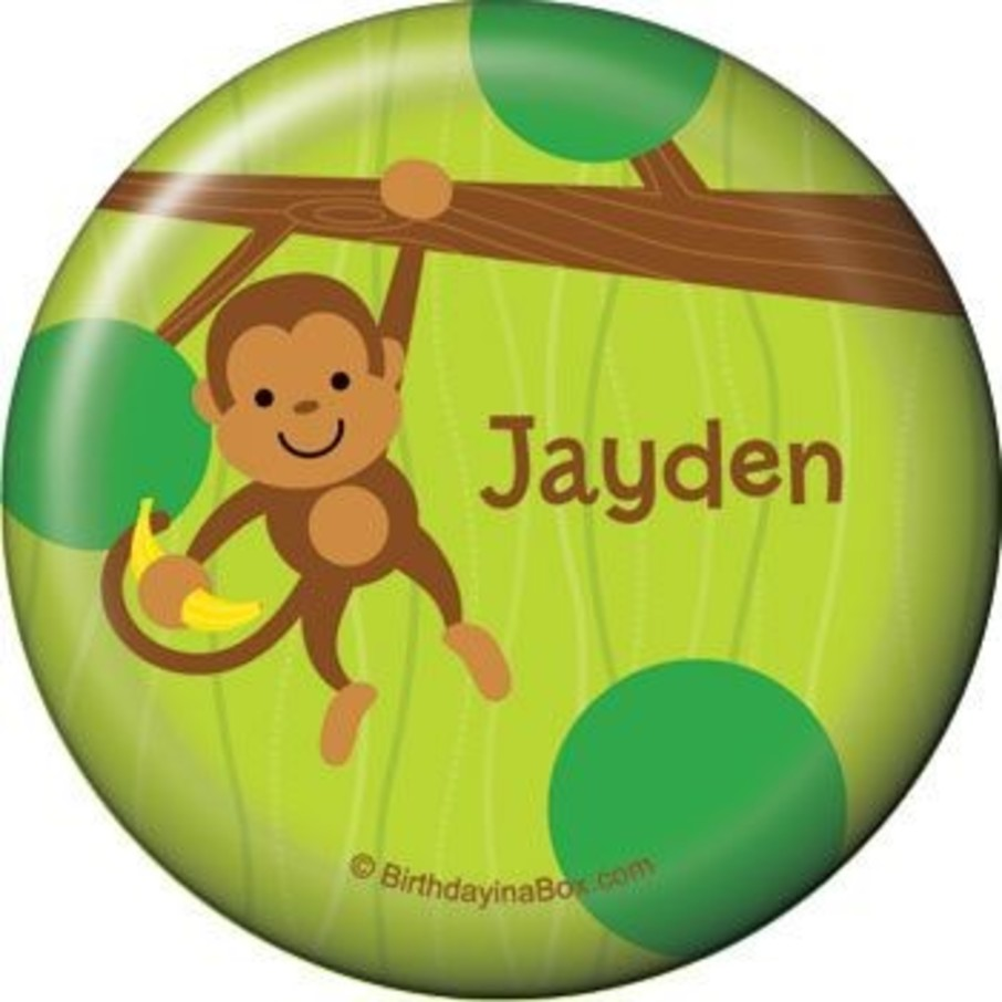 View larger image of Monkey Party Personalized Button (each)