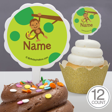 Monkey Party Personalized Cupcake Picks (12 Count)