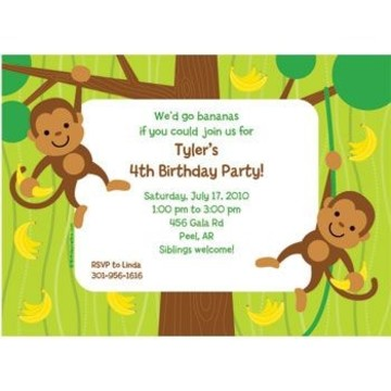 Monkey Party Personalized Invitation (each)