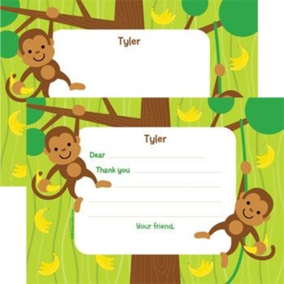 View larger image of Monkey Party Personalized Thank You Note (each)