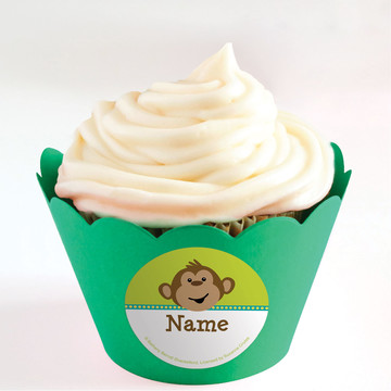 Monkeying Around Personalized Cupcake Wrappers (Set of 24)