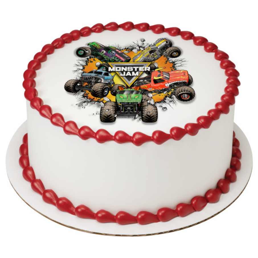 "View larger image of Monster Jam 7.5"" Round Edible Cake Topper (Each)"