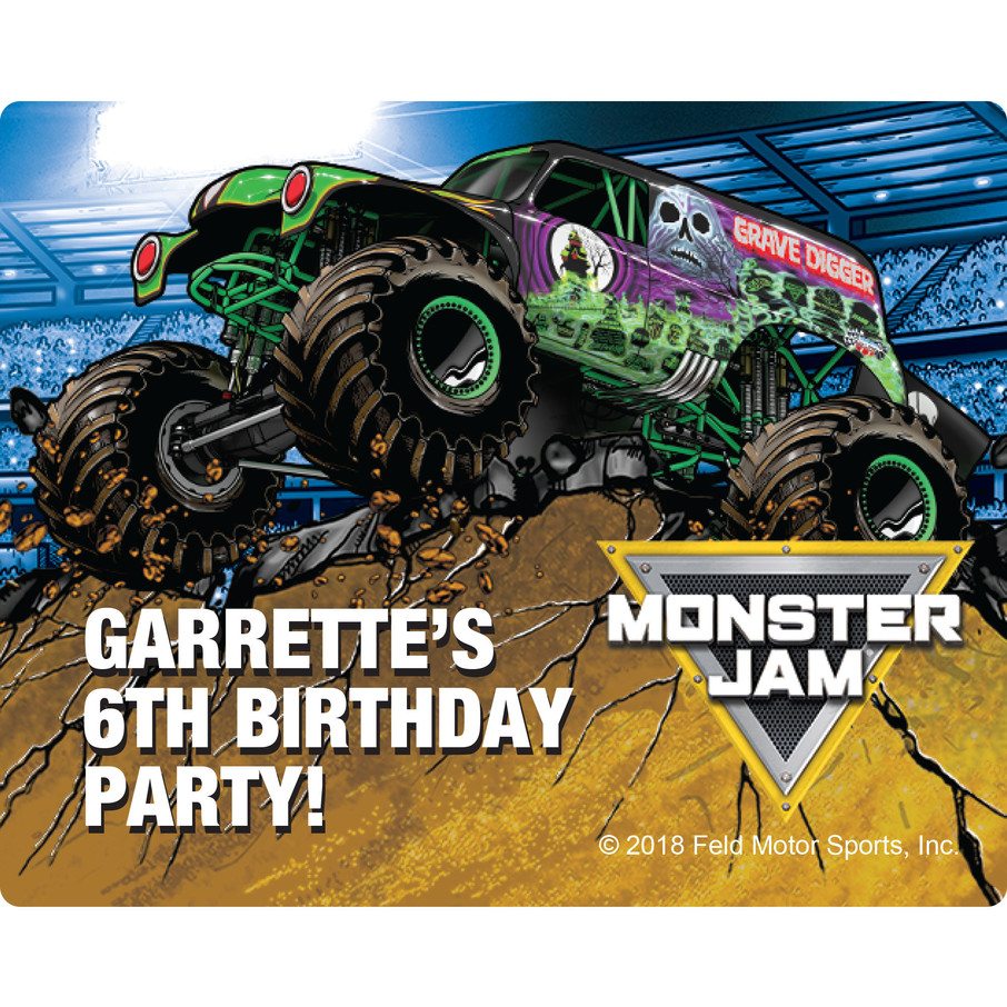 View larger image of Monster Jam Personalized Rectangular Stickers (Sheet of 15)