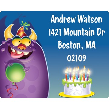 Monster Party Personalized Address Labels (Sheet of 15)