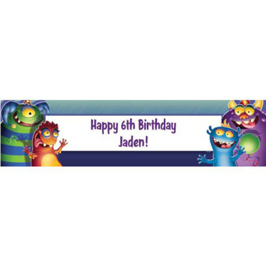 View larger image of Monster Party Personalized Banner (each)