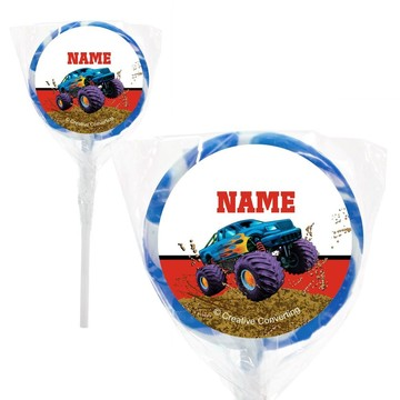 """Monster Truck Personalized 2"""" Lollipops (20 Pack)"""