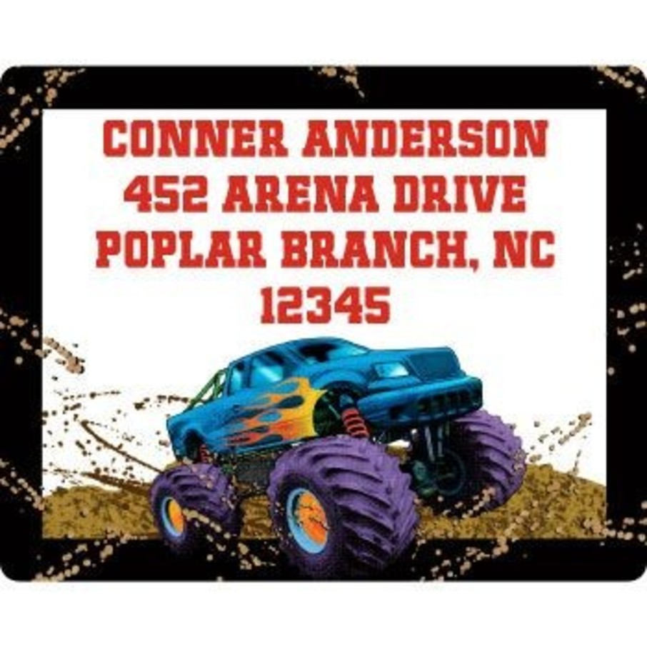 View larger image of Monster Truck Personalized Address Labels (sheet of 15)