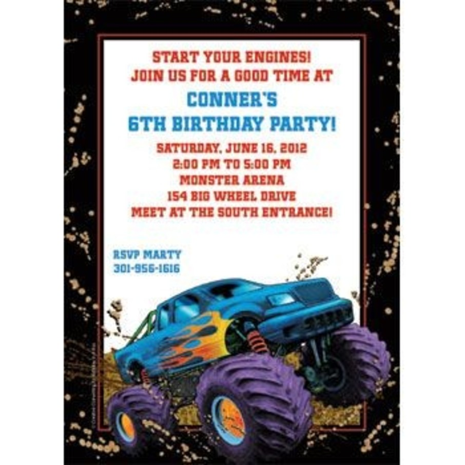 View larger image of Monster Truck Personalized Invitation (each)
