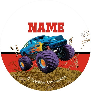 Monster Truck Personalized Mini Stickers (Sheet of 24)
