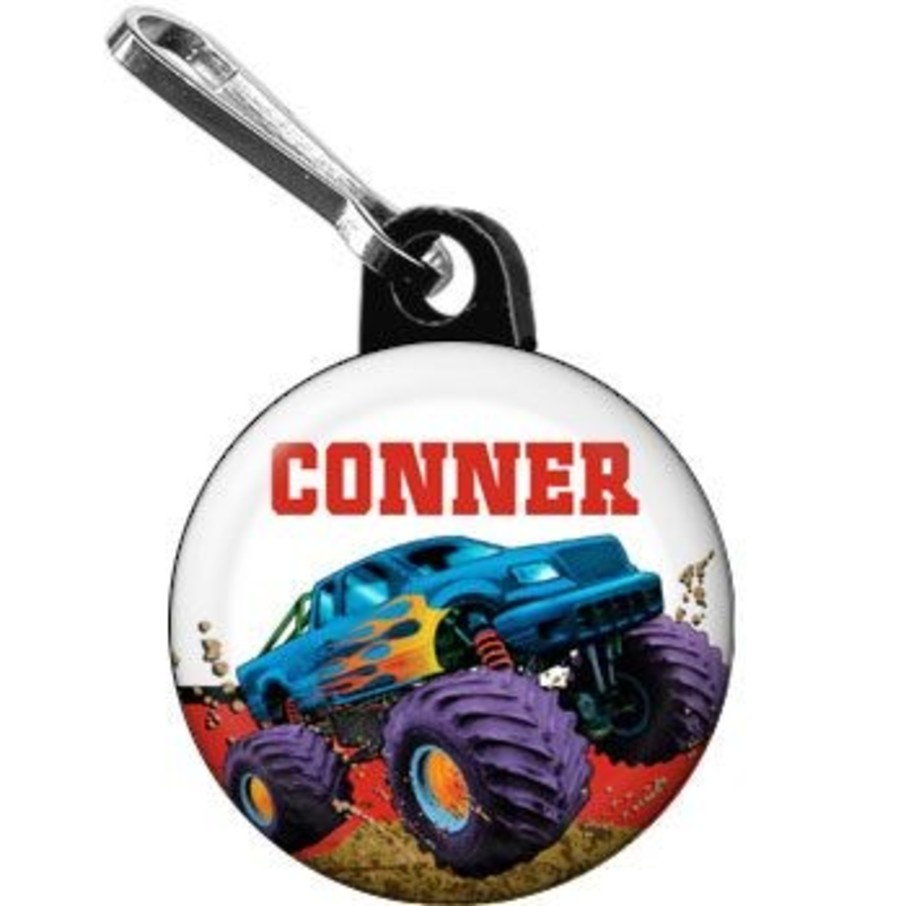 View larger image of Monster Truck Personalized Mini Zipper Pull (each)