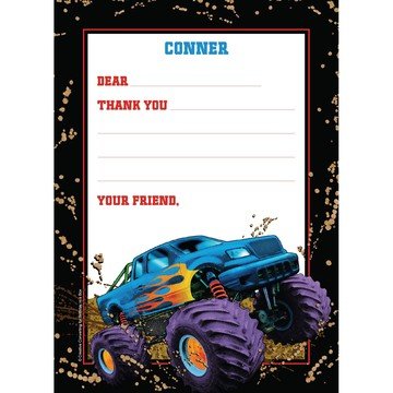 Monster Truck Personalized Thank You Note (each)