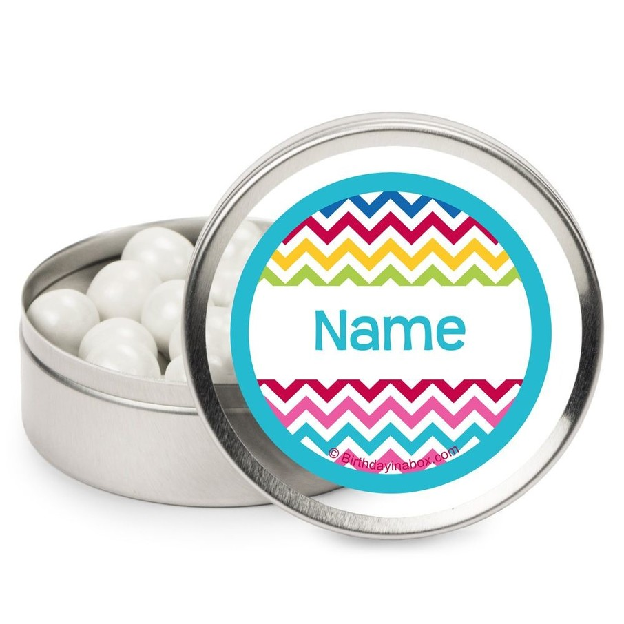 View larger image of Multi Chevron Personalized Candy Tins (12 Pack)
