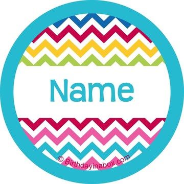 Multi Chevron Personalized Mini Stickers (Sheet of 24)