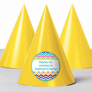 Multi Chevron Personalized Party Hats (8 Count)